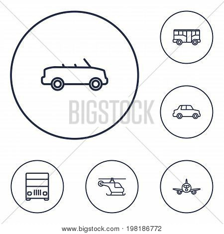 Collection Of Helicopter, Bus, Lorry And Other Elements.  Set Of 6 Traffic Outline Icons Set.