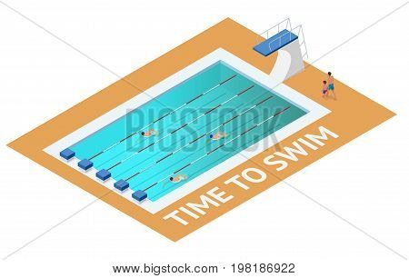 Isometric people diving into water in to the swimming pool, diver. Male swimmer, that jumping and diving into indoor sport swimming pool. Sporty man