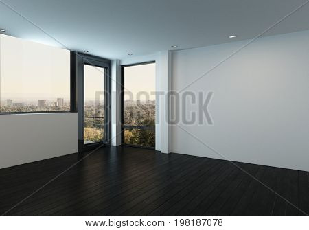 Balcony door in modern unfurnished room with white blank walls. 3d Rendering.