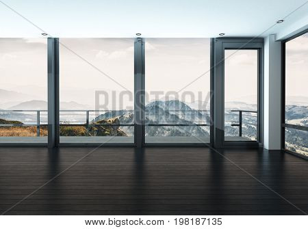 Scenic view seen from large windows in modern spacious room with wooden floor. 3d Rendering.