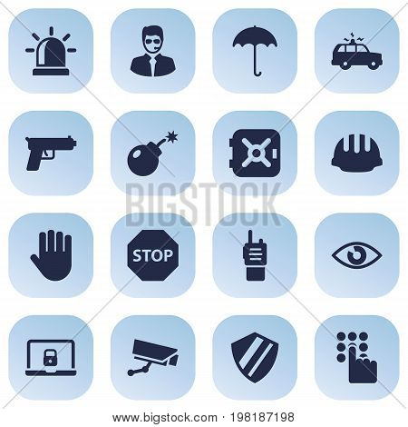 Collection Of Dynamite, Strongbox, Protection And Other Elements.  Set Of 16 Security Icons Set.
