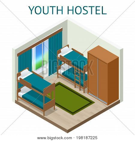 Youth hostel building facade, backpack, double decker bunk bed, room key Travel and tourism business themed items. Isometric hostel room.