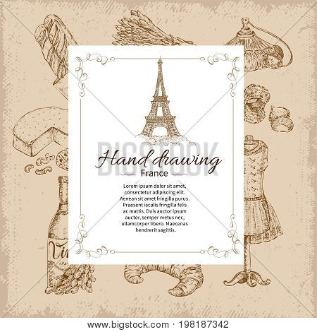 Drawn paris icon set with french food symbols overlaid by rectangular title label with eiffel tower vector illustration