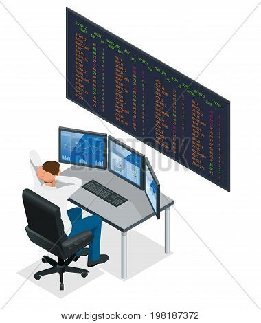 Analyzing data, graphs and reports for investment purposes Creative teamwork traders Businessmen trading stocks online Stock brokers looking at graphs, indexes and numbers on multiple computer screen