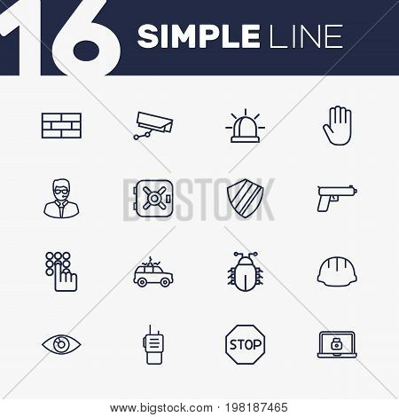 Collection Of Weapon, Virus, Helmet And Other Elements.  Set Of 16 Security Outline Icons Set.