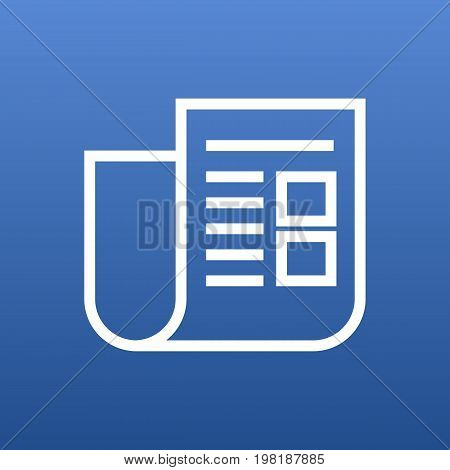 Vector Newspaper Element In Trendy Style.  Isolated Journal Outline Symbol On Clean Background.