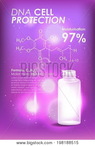 Coenzyme Q10. Supreme collagen oil drop essence. Cosmetic ads template, glass droplet bottle with essence oil isolated