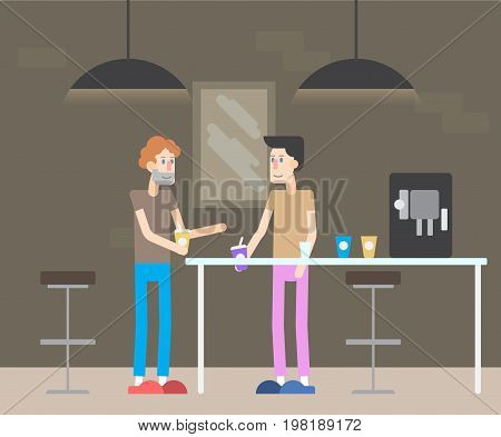 modern IT office. Business People Working Office Corporate Team Concept. Shared working environment. People talking and working