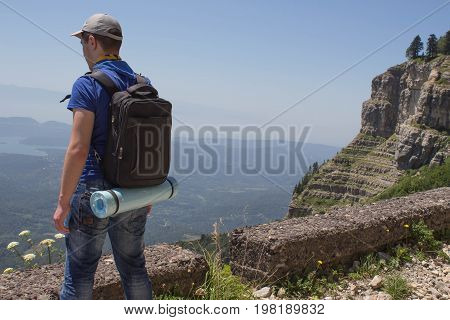 Travel adventure and hiking activity active and healthy lifestyle on summer vacation and weekend tour. Tourist With Backpacks travel