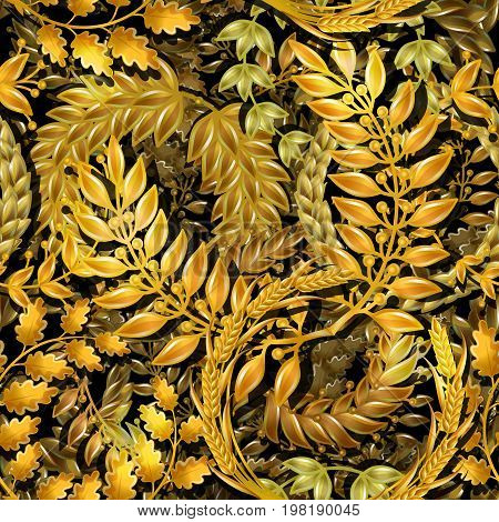 Cartoon floral gold wreathes seamless pattern with wheat ears laurel olive and oak branches vector illustration
