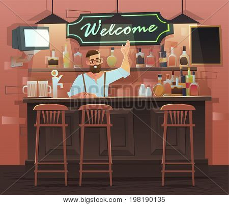 Beer bar - Restaurant. Vector banner of interior with bar counter, bar chairs and shelves with alcohol. Bartender at the counter works