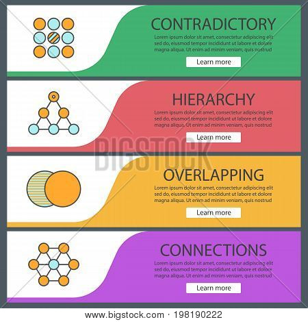 Abstract symbols web banner templates set. Contradictory, hierarchy, overlapping, connections. Website color menu items. Vector headers design concepts