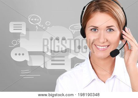 Young face woman headphones global network background close-up