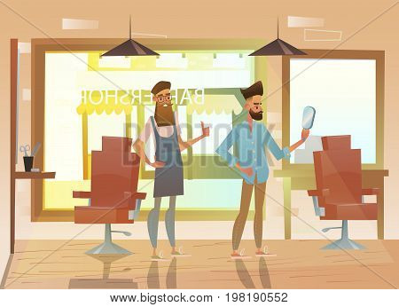 Hairdresser shearing a hipster. Professional hairdresser standing at workplace in beauty salon.