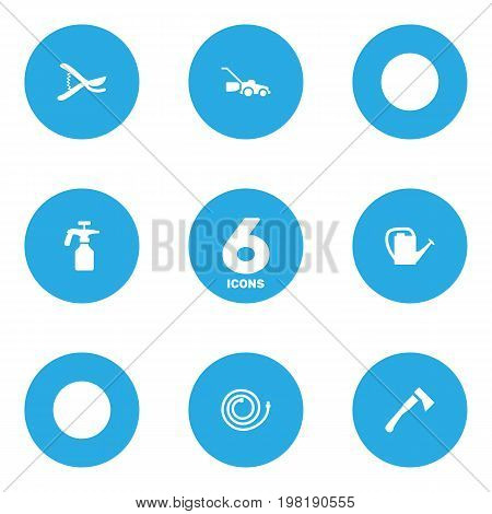Collection Of Lawn Mower, Garden Hose, Spray Bootle And Other Elements.  Set Of 6 Household Icons Set.