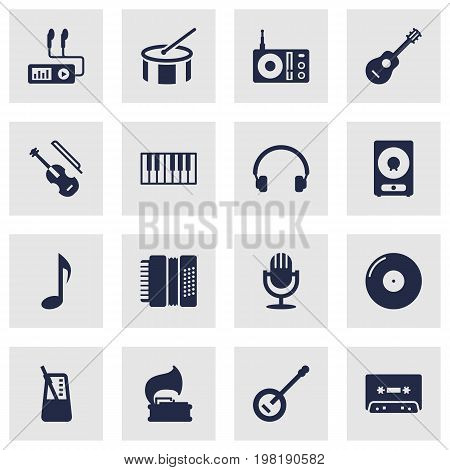 Collection Of Turntable, Fiddle, Banjo And Other Elements.  Set Of 16 Song Icons Set.