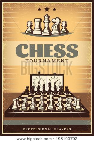 Vintage chess competition poster with lettering figures on chessboard before game and clock vector illustration
