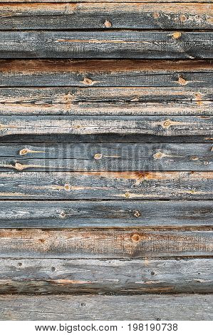 Wooden Logs Wall Of Old Rural House