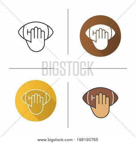 Hand throwing american football ball icon. Flat design, linear and color styles. Isolated vector illustrations