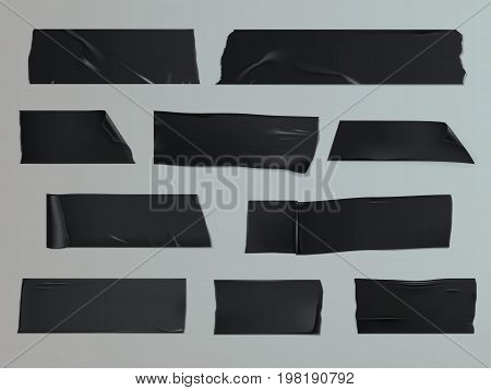 Vector illustration in a realistic style set of different slices of a adhesive tape with shadow and wrinkles isolated on a gray