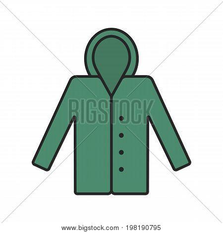 Raincoat color icon. Waterproof coat. Isolated vector illustration