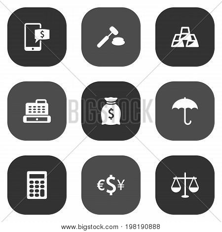 Collection Of Sack, Cashbox, Ingot And Other Elements.  Set Of 9 Budget Icons Set.