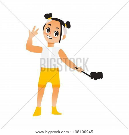 Vector child girl makes selfie .Flat cartoon style Isolated illustration on a white background. Young kid in shorts , t-shirt makes photo by selfie stick on vacation