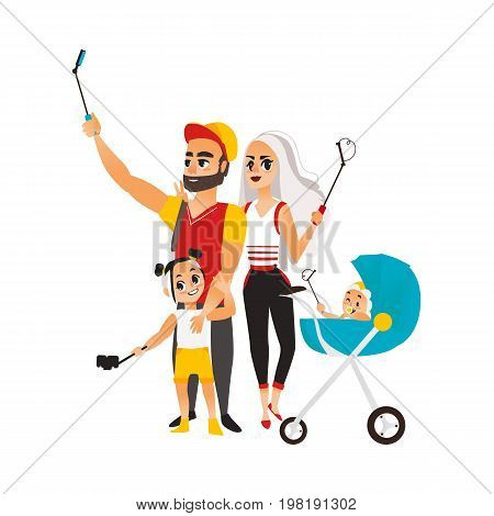 Vector family couple, child girl and infant baby in stroller make selfie. Flat cartoon style Isolated illustration on a white background. Man, woman , child girl and baby makes photo by selfie stick