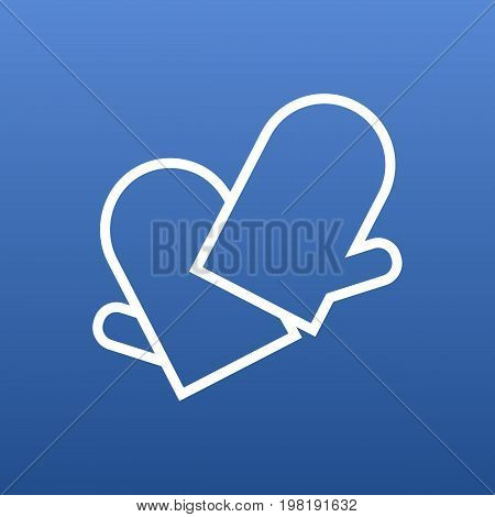 Vector Gloves Element In Trendy Style.  Isolated Potholders Outline Symbol On Clean Background.