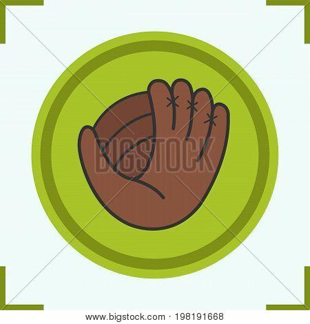 Baseball glove color icon. Softball mitt. Isolated vector illustration