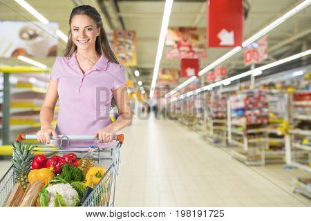 Cart shop woman pushing consumerism discount retail