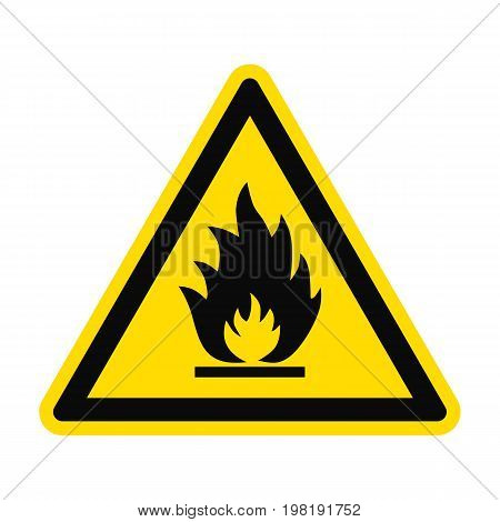 Icon danger fire risk. Fire on yellow triangle isolated on white background. Vector illustration.