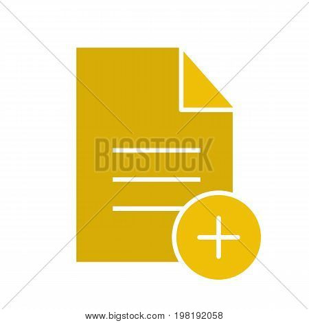 Add new document glyph color icon. Document with plus sign. Silhouette symbol on white background. Negative space. Vector illustration