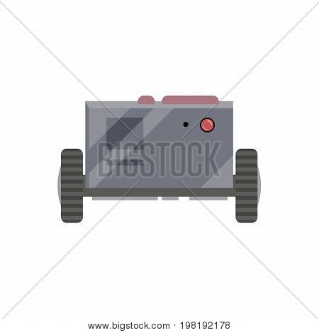 Robot evolution, simple retro android, box on wheels, cartoon vector illustration isolated on white background. Simple retro, vintage metal robot, machinery in metal box, cartoon style illustration