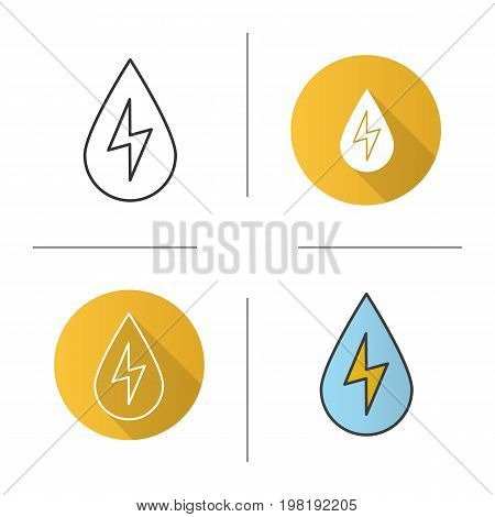 Water energy icon. Flat design, linear and color styles. Water drop with lightning inside. Hydro power plant. Isolated vector illustrations