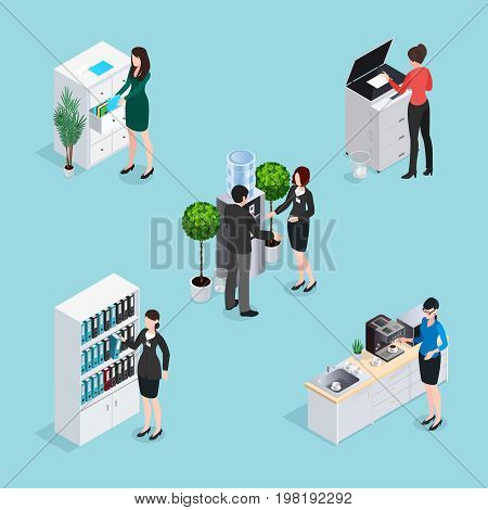 Office life scenes isometric set with employees near water cooler cabinets copier at kitchen isolated vector illustration