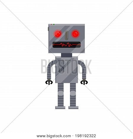 Robot evolution, retro, vintage android character, cartoon vector illustration isolated on white background. Standing retro, vintage metal robot, cartoon style illustration