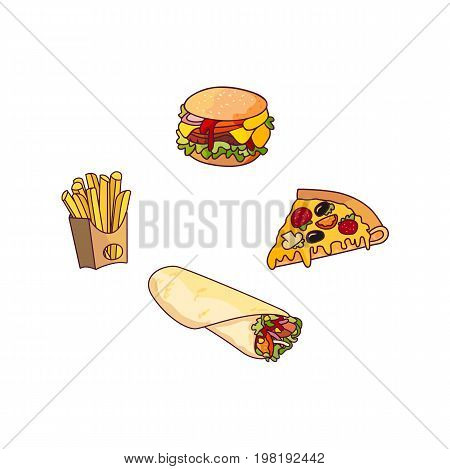 Vector burger pizza slice, roll potato fry, set. Fast food flat cartoon isolated illustration on a white background. Pepperoni pizza with cheese, french fries in paper box, sandwich vegetable shawarma