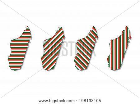 Vector set of Madagascar map from Madagascar flag