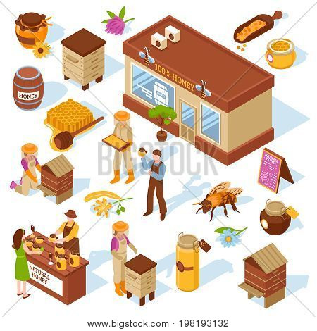 Honey garden apiary farm production and sale isometric icons collection with beehive honeycomb bee isolated vector illustration