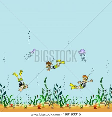 Vector seamless decorative border of cartoon seabed with seaweed, swimmers and jellyfishes