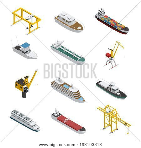 Sea and river vessel isometric icons set with motorboat barge tanker and port cargo equipment vector illustration