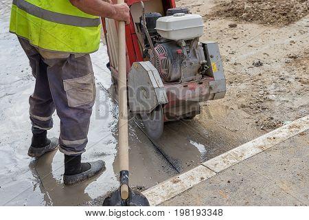 Cutting Asphalt Road With Diamond Saw Blade 2