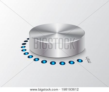 Volume controler with glowing dial. Metal, chrome.