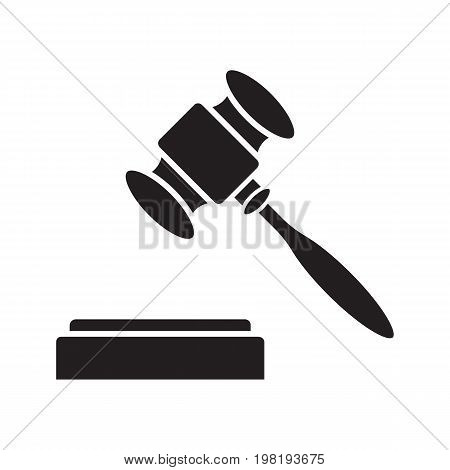 Gavel, court hammer glyph icon. Justice, jurisdiction silhouette symbol. Auction bid. Vendue. Negative space. Vector isolated illustration