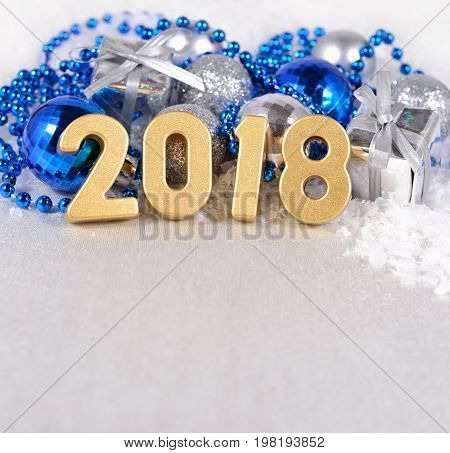 2018 Year Golden Figures On The Background Of Christmas Decorations