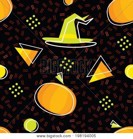 seamless halloween pattern in memphis style with pumpkins candycorns and witch hat abstract vector backgrounds