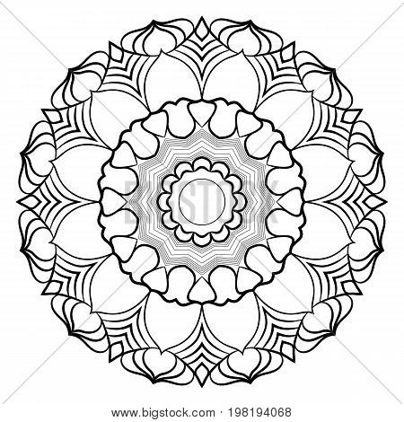 Monochrome mandala for color book. A pattern in the circle. Illustration for the album. Pattern for printing on fabrics. Figure for relaxation.