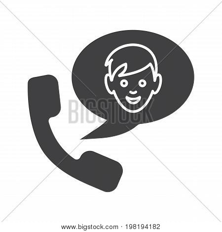 Phone talk with boy glyph icon. Silhouette symbol. Handset with boy inside speech bubble. Negative space. Vector isolated illustration