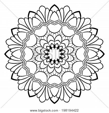 Monochrome mandala for color book. A pattern in the circle. Illustration for the album. Pattern for printing on fabrics. Figure for relaxation and meditation.